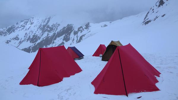 Snow Camping at Pass Base