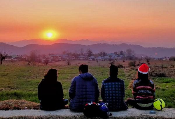 Enjoy sunset at landing site with your friends