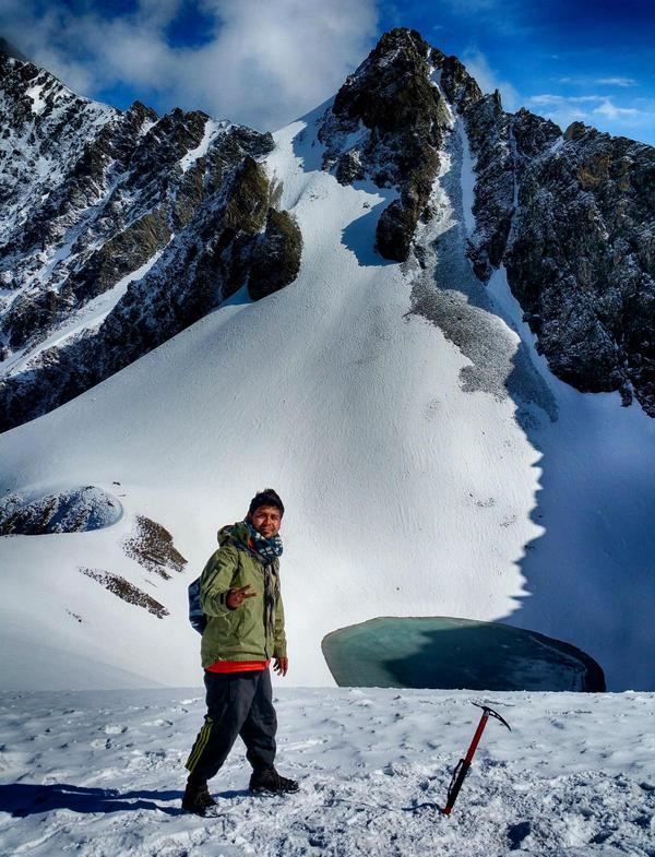 Me in front of the Roopkund lake.